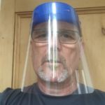 Mr Pyle in a protective visor he manufactured